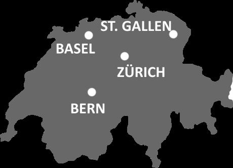 Unsere Standorte: Basel, Bern, St. Gallen, Zürich